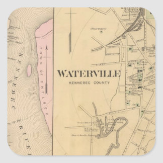 Waterville, Kennebec County Square Sticker