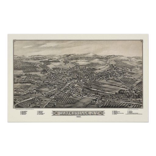 Waterville, mapa panorámico de NY - 1885 Posters