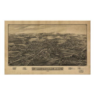 Waterville New York 1885 Antique Panoramic Map Poster
