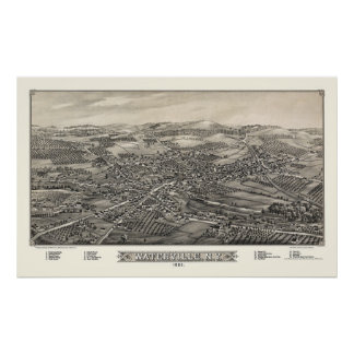 Waterville, NY Panoramic Map - 1885 Poster