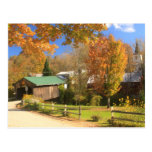 Waterville Vermont Covered Bridge and Village Postcard