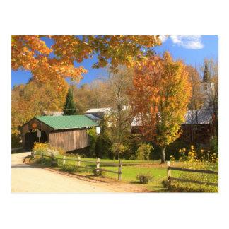 Waterville Vermont Covered Bridge and Village Postcard
