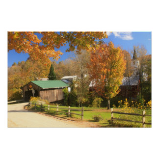 Waterville Vermont Covered Bridge and Village Print