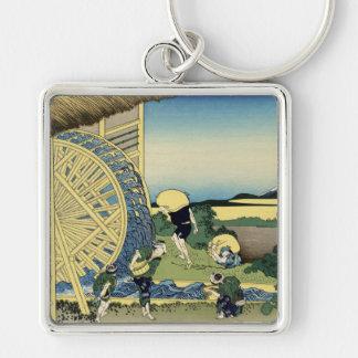 Waterwheels at Onden, Katsushika Hokusai Key Chain