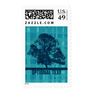 Watery Blue Plaid & Tree Silhouette - Customize Postage Stamps