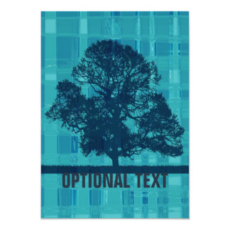 Watery Blue Plaid & Tree Silhouette You're Invited Card