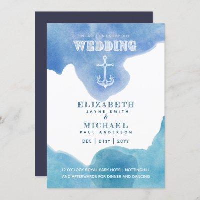Watery Nautical Sailing Destination Wedding Invite