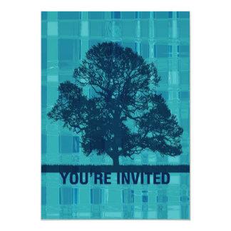 Watery Plaid & Tree Invitation