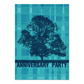 Watery Plaid & Tree Invitation Anniversary Party
