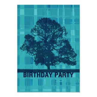 Watery Plaid & Tree Invitation Birthday Party