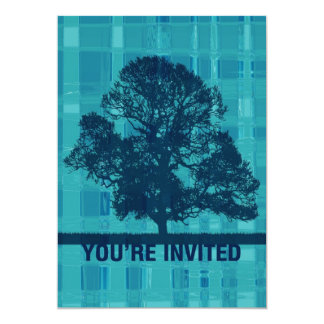 Watery Plaid & Tree Silhouette You're Invited Card