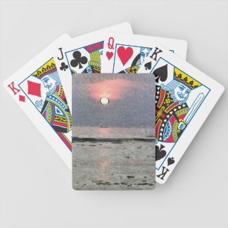 Watery sunset bicycle playing cards