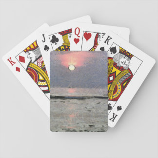 Watery sunset deck of cards