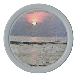 Watery sunset set of poker chips