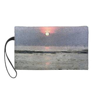 Watery sunset wristlet purse