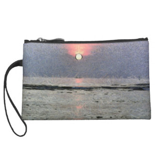 Watery sunset wristlet wallet