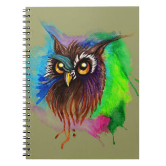 Watery Wood Owl Spiral Notebook