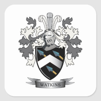 Watkins Family Crest Coat of Arms Square Sticker