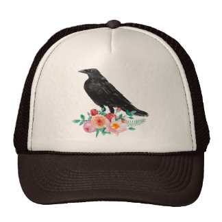 Watlercolor Crow and Roses Trucker Hat