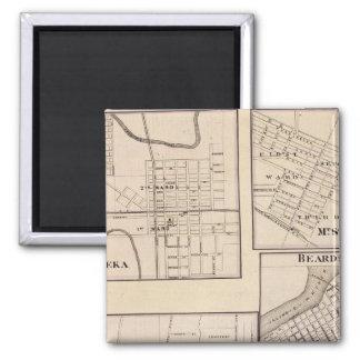 Watseka, Paris, Mt Sterling, Beardstown and Arcola 2 Inch Square Magnet