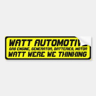 Watt Auto Car Bumper Sticker