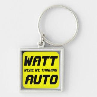 Watt Automobile Silver-Colored Square Keychain