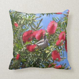 Wattle Bird In Bottlebrush Throw Pillow