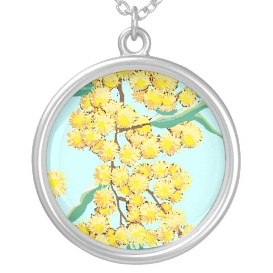 Wattle blossoms - Australia Silver Plated Necklace