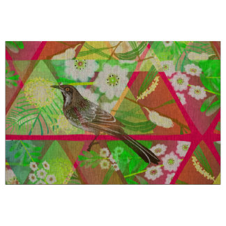 Wattlebird on Australian wattle and myrtle. Fabric
