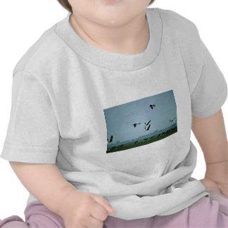 Wattled Cranes flying over Black Lechwe T-shirt