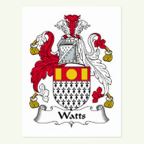 Watts Family Crest Postcard