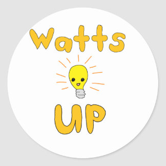 Watts Up Classic Round Sticker