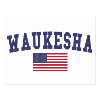 Waukesha US Flag Postcard