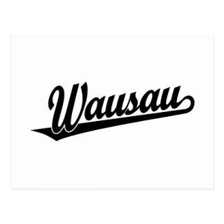 Wausau script logo in black postcard