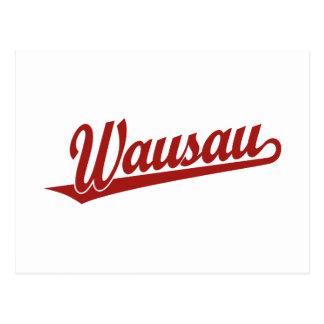 Wausau script logo in red postcard