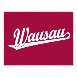 Wausau script logo in white card