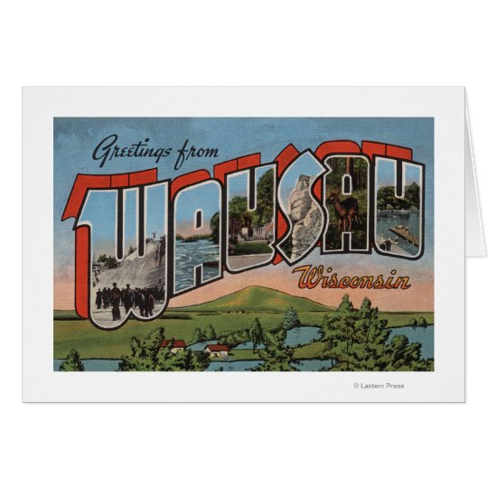 Wausau, Wisconsin - Large Letter Scenes Card