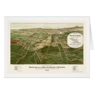 Wauwatosa, mapa panorámico de los WI - 1892 Tarjeta De Felicitación