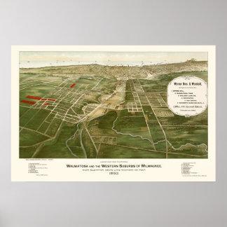 Wauwatosa, WI Panoramic Map - 1892 Posters