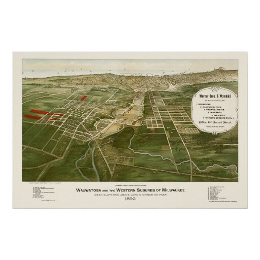 Wauwatosa, WI Panoramic Map - 1892 Poster