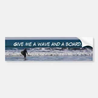 Wave and a Board Bumper Sticker