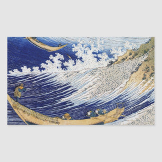 Wave and Fishermen Rectangular Stickers