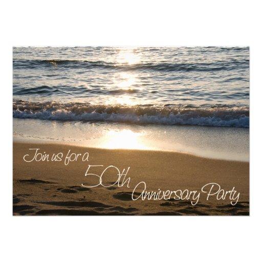 Wave at Sunset 50th Anniversary Invitation Card