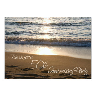 Wave at Sunset 50th Anniversary Invitation Card