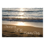 Wave at Sunset 80th Birthday Party Invitation Card