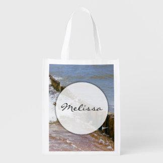 Wave Breaker, Wooden Stakes, Ocean Sea Reusable Grocery Bag
