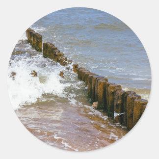 Wave Breaker Wooden Stakes Ocean Sea Stickers