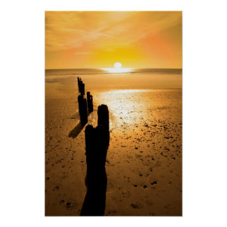 wave breakers at sunset posters