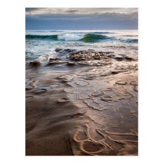 Wave breaking on beach, California Postcard
