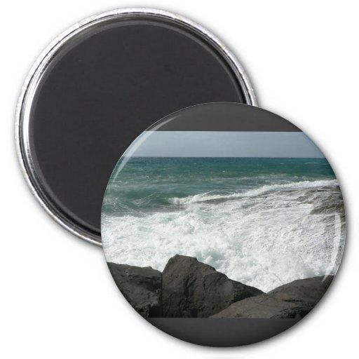 Wave Breaking On Big Rocks 2 Inch Round Magnet